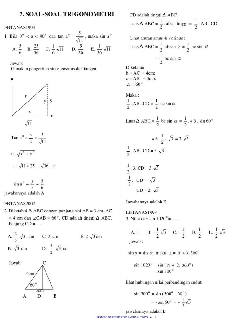 Soal Trigonometri Kelas 10 Doc : trigonometri, kelas, Soal-Soal, Trigonometri(2)