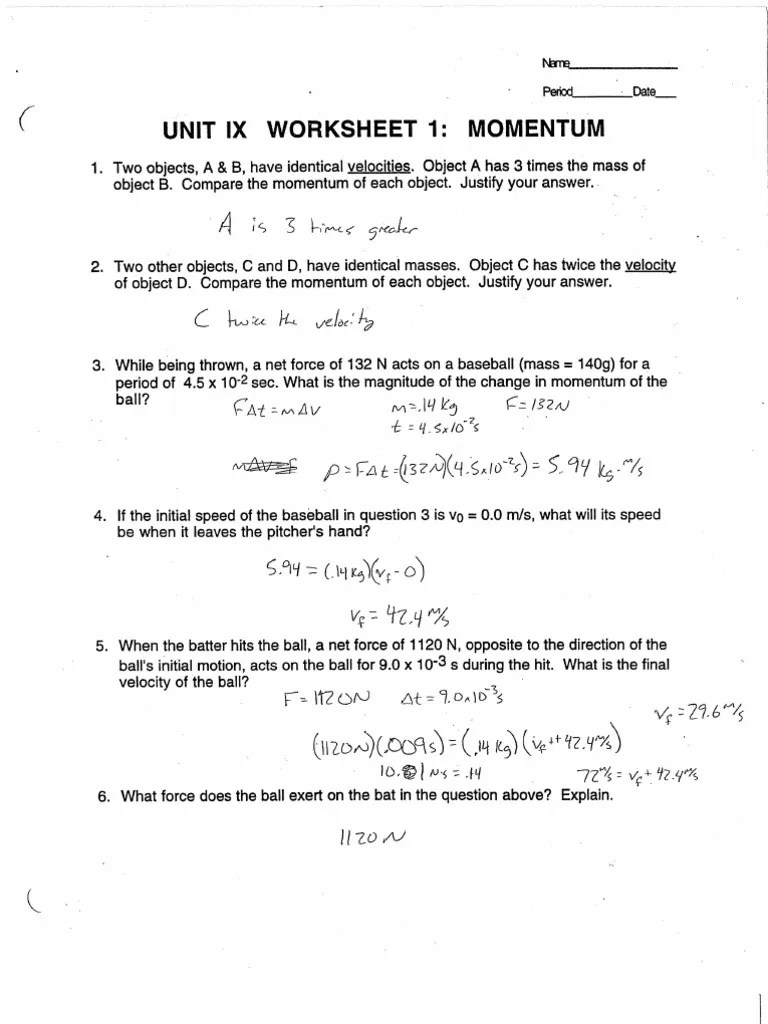 Worksheets Momentum Worksheet momentum and impulse worksheet free worksheets library download nd w ksheet 1 mich elk sus