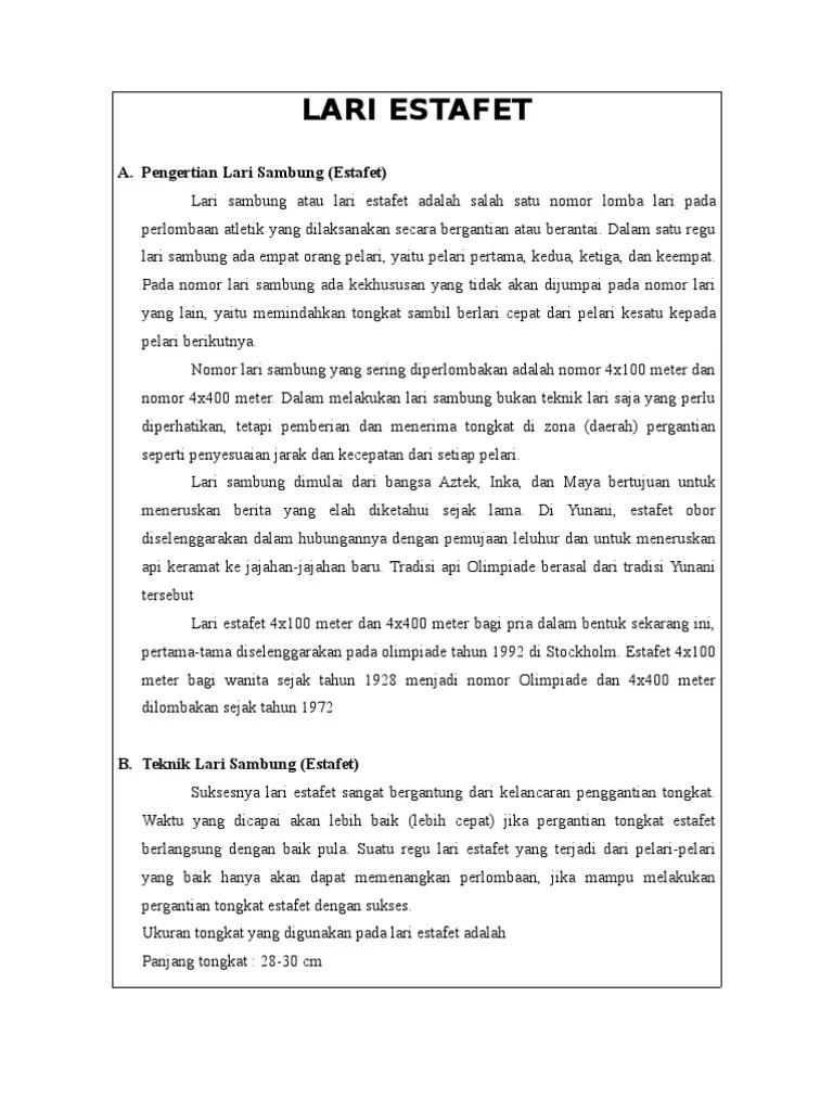 Panjang Tongkat Lari Estafet : panjang, tongkat, estafet, Estafet