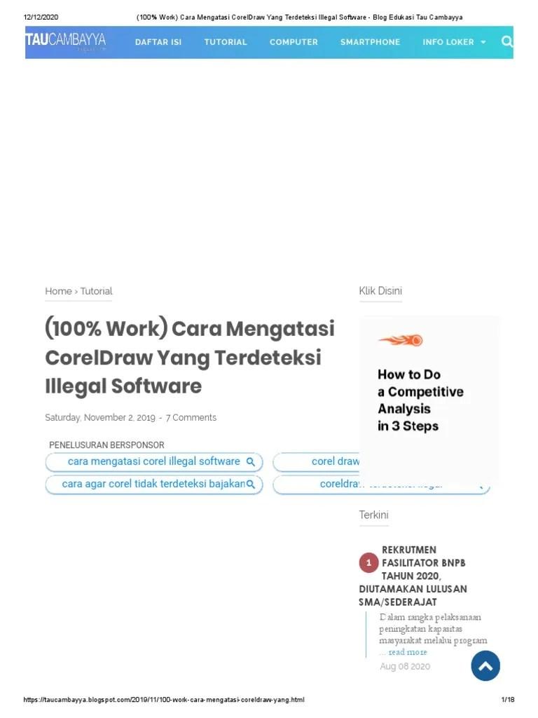 Agar Corel Tidak Terdeteksi Bajakan : corel, tidak, terdeteksi, bajakan, (100%, Work), Mengatasi, CorelDraw, Terdeteksi, Illegal, Software, Edukasi, Cambayya.pdf