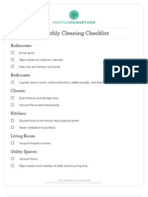 cleaning monthly cleaning checklist