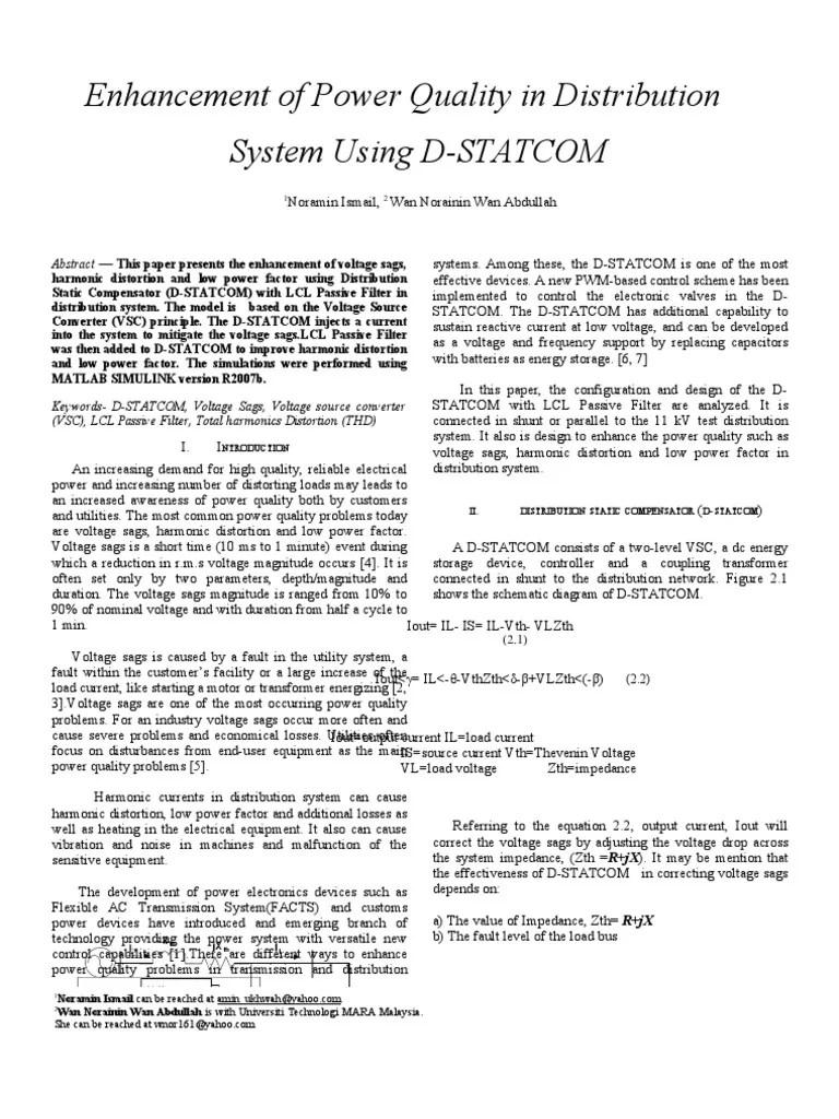 medium resolution of  peoco enhancement of power quality in distribution system using d statcom ac power capacitor