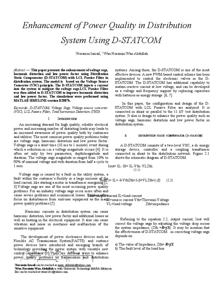 small resolution of  peoco enhancement of power quality in distribution system using d statcom ac power capacitor