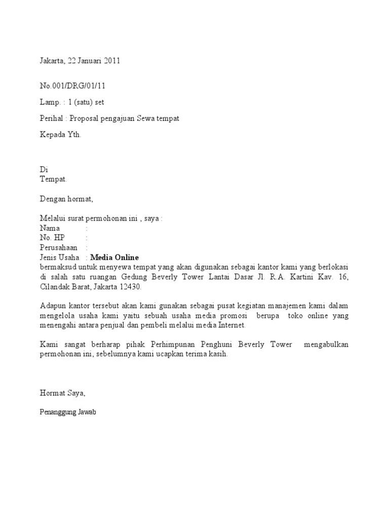 Contoh Surat Permohonan Sewa Tempat Usaha Di Mall
