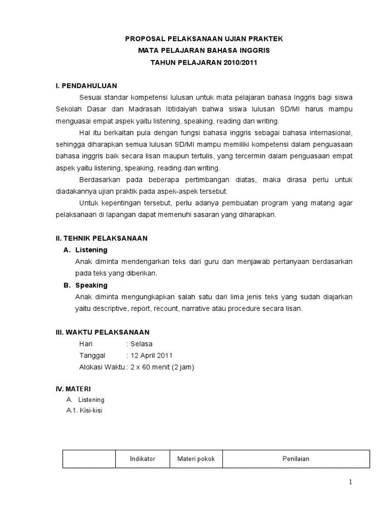 Contoh Proposal Ujian Praktek Sd Kelas 6 : contoh, proposal, ujian, praktek, kelas, Contoh, Proposal, Ujian, Praktek, Kelas, Tulisan