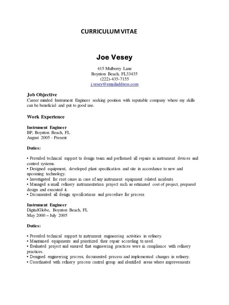 Sample CV  Instrumentation Engineer  Programmable Logic Controller  Scada