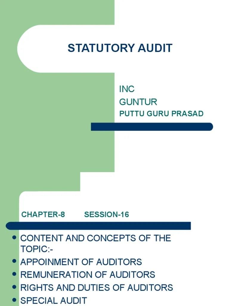 STATUTORY AUDIT | Audit | Financial Audit