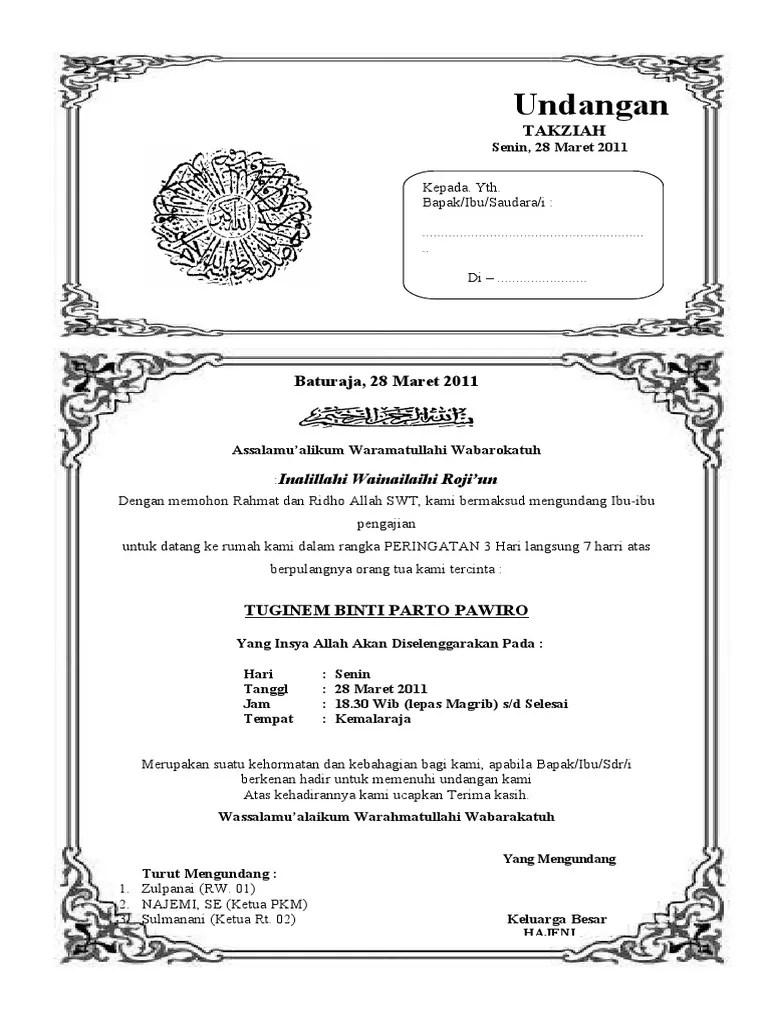 Contoh Undangan Takziah : contoh, undangan, takziah, Undangan, Takziah