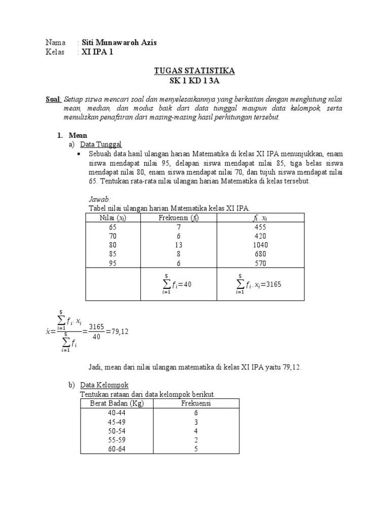 Mean Data Tunggal : tunggal, Contoh, Median, Modus, Semoga, Informasi, Cute766