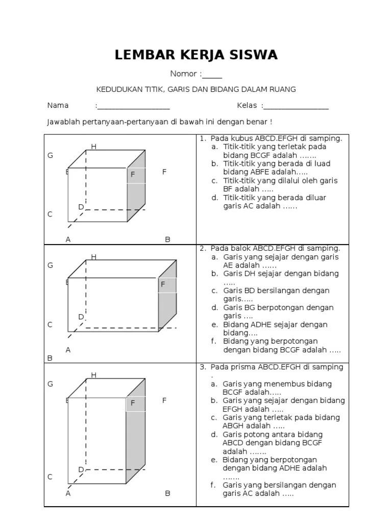 Materi Dimensi Tiga Kelas 12 Kurikulum 2013 : materi, dimensi, kelas, kurikulum, Lembar, Kerja, Siswa, Dimensi