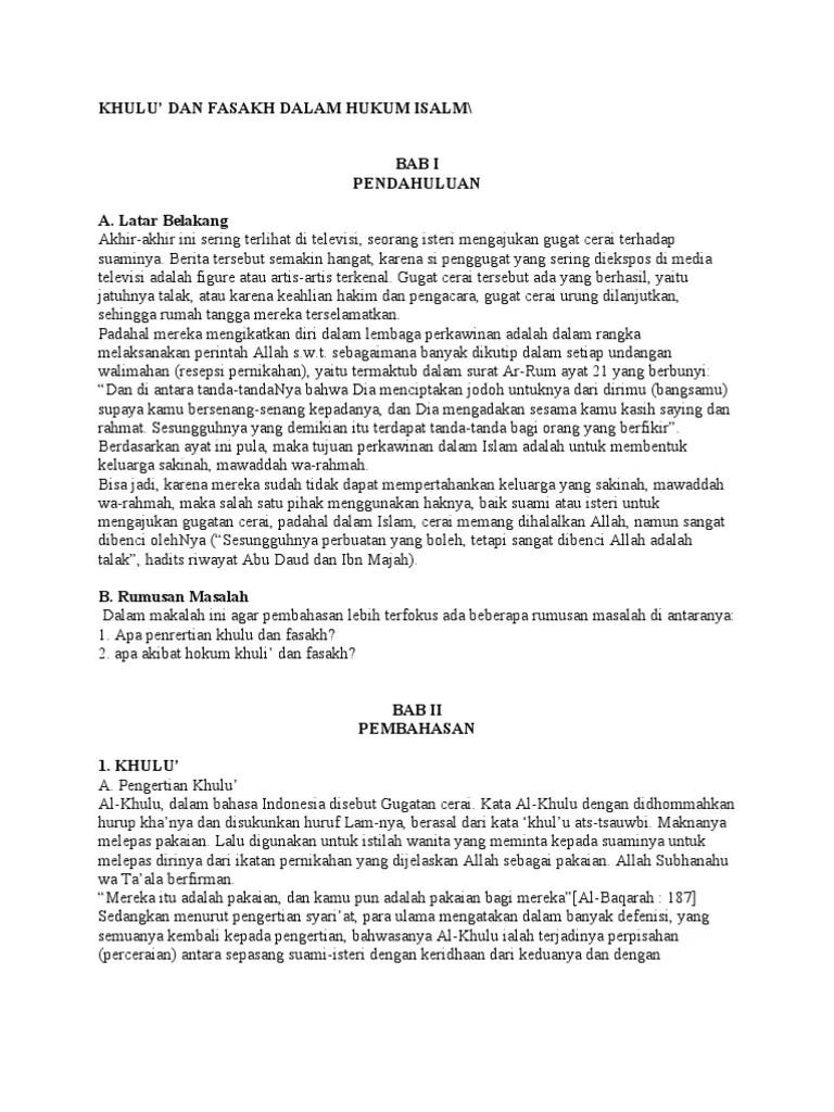 Makalah Fasakh : makalah, fasakh, Makalah, Khulu', Fasakh