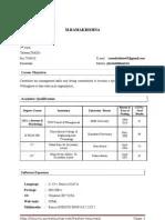 MBA Finance  Marketing _ Resume CV BioData Curriculum Vitae Sample Format Cover Letter