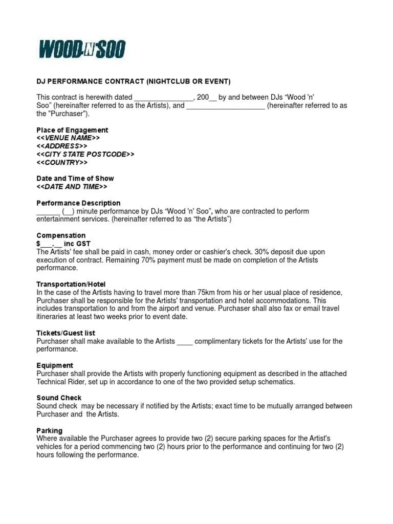 Nightclub Event Contract Sample
