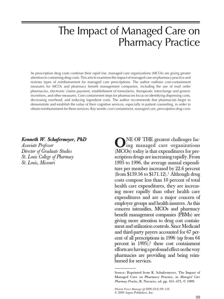 Impact of Managed Care on Pharmacy Practice | Pharmacy | Medical Prescription