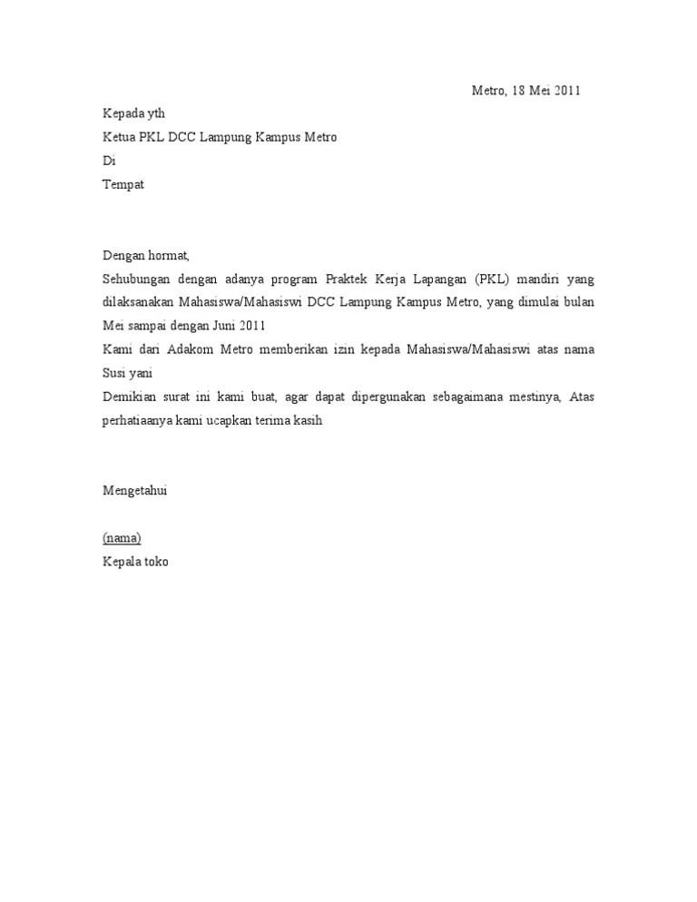 Surat Balasan Pkl Dari Perusahaan Doc : surat, balasan, perusahaan, Contoh, Surat, Balasan, Kerja, Praktek, Mahasiswa