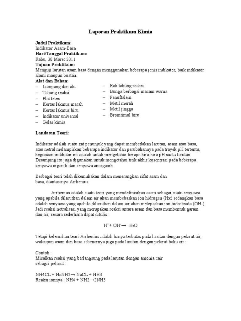 Contoh Laporan Praktikum Kimia Asam Dan Basa Seputar Laporan Cute766