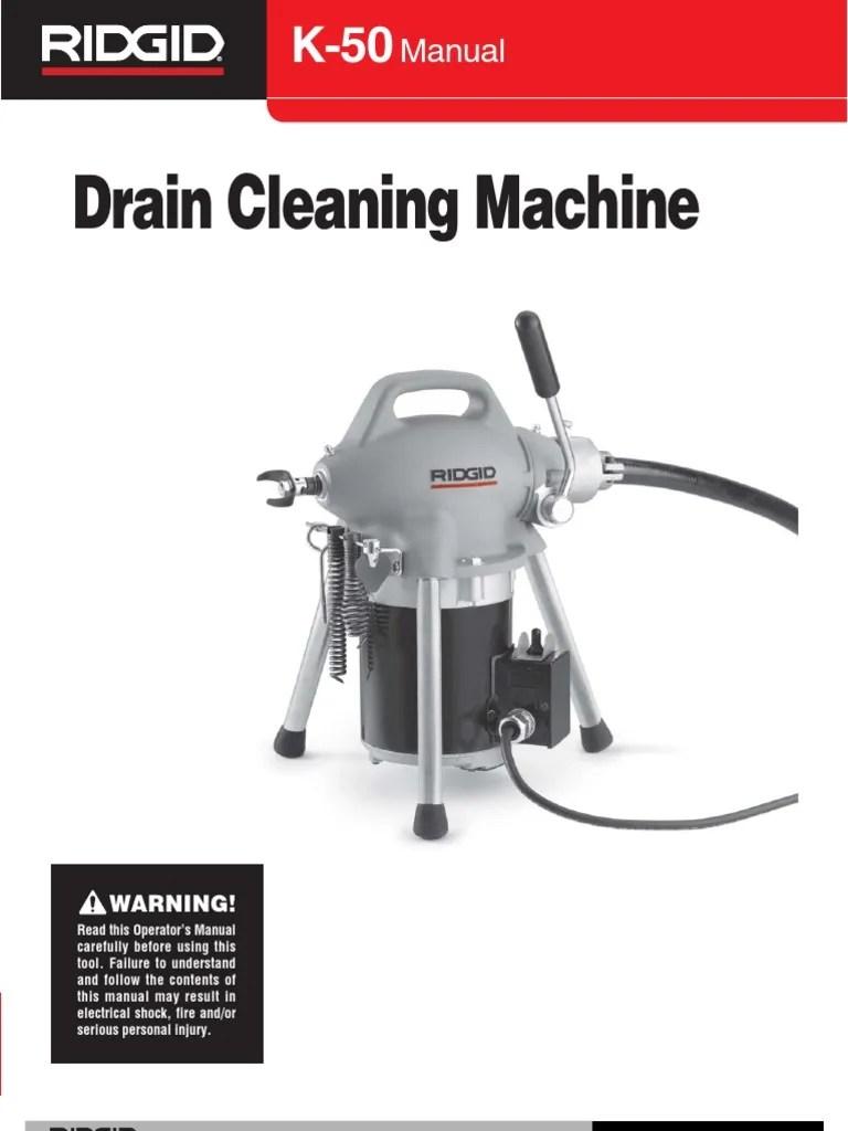ridgid k 50 sectional machine user s manual [ 768 x 1024 Pixel ]
