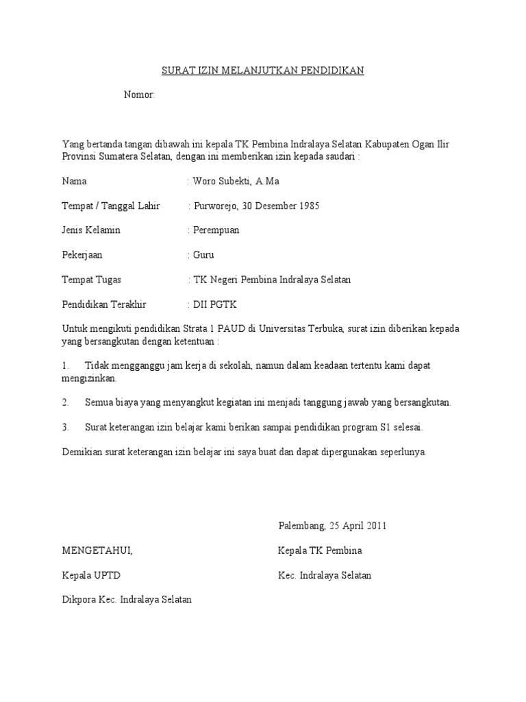 Surat Izin Belajar : surat, belajar, Surat, Melanjutkan, Pendidikan