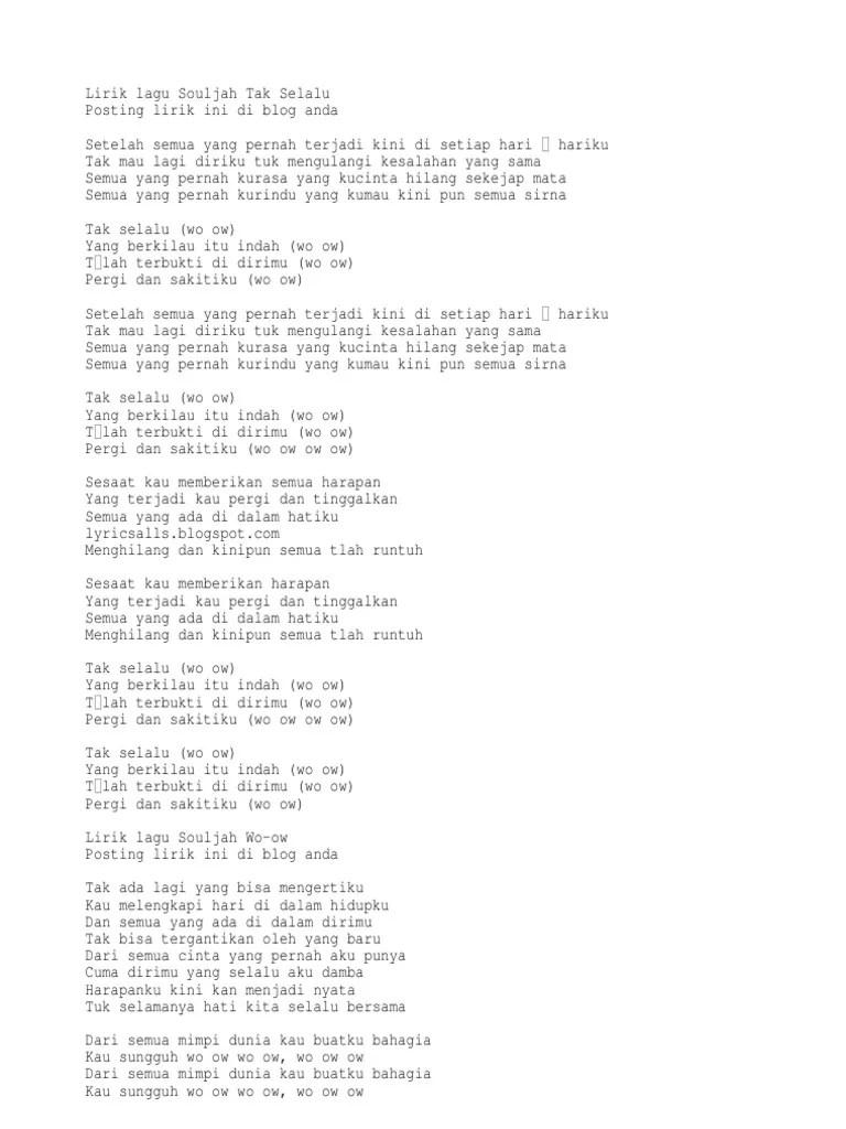 Download Lagu Souljah Tak Selalu : download, souljah, selalu, Lirik, Souljah, Selalu
