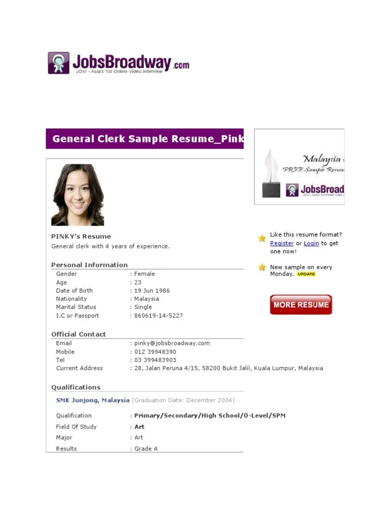 General Clerk Sample Resume