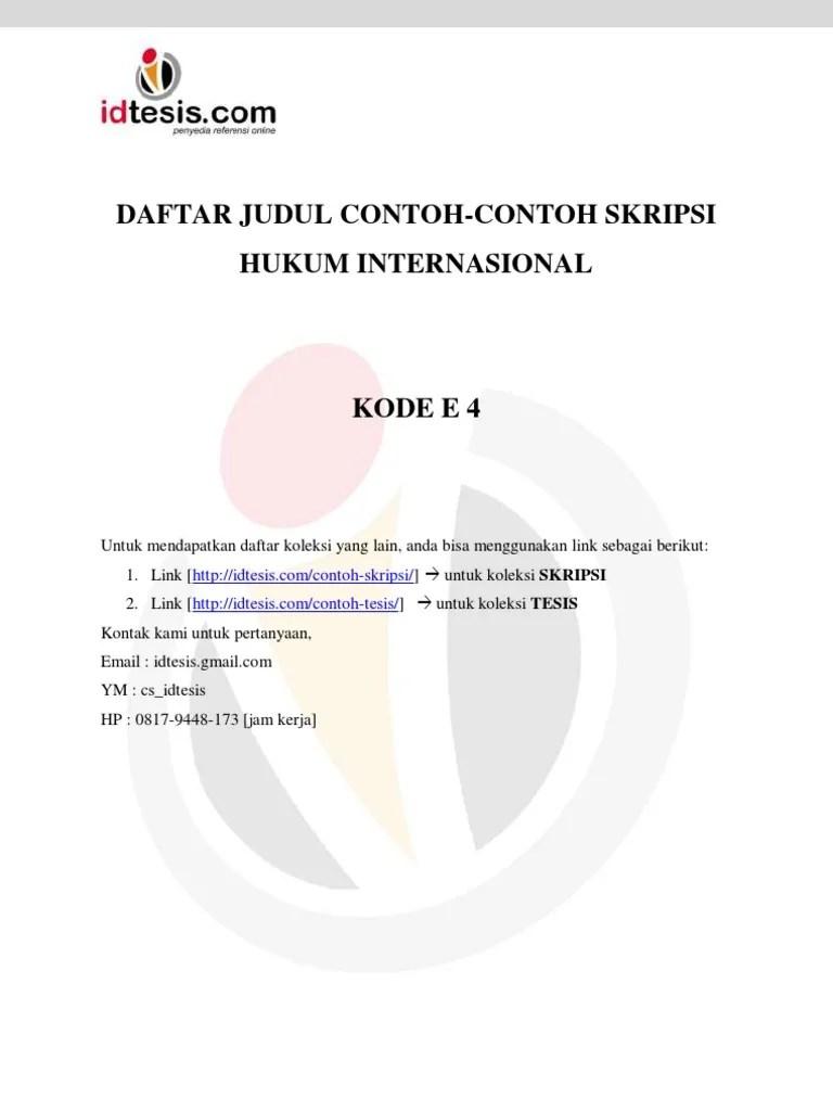 Daftar Judul Contoh Contoh Skripsi Hukum Internasional Cute766