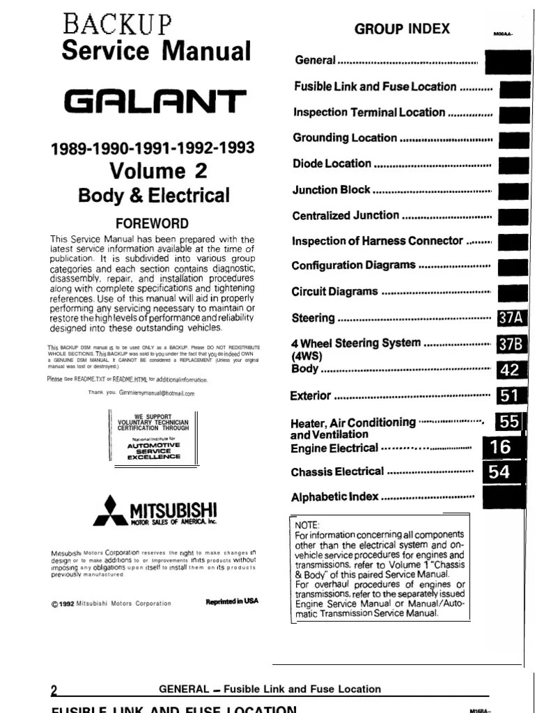medium resolution of galant 89 93 service manual body electric troubleshooting fuse electrical