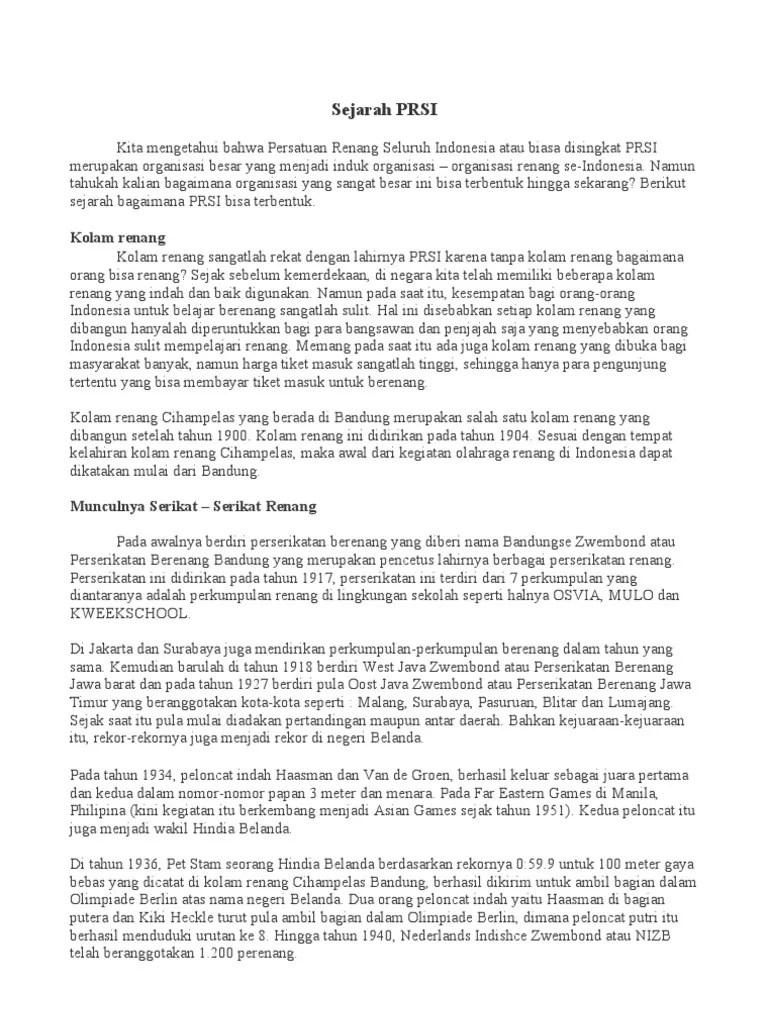 Sejarah Renang Indonesia : sejarah, renang, indonesia, Sejarah, Berdirinya
