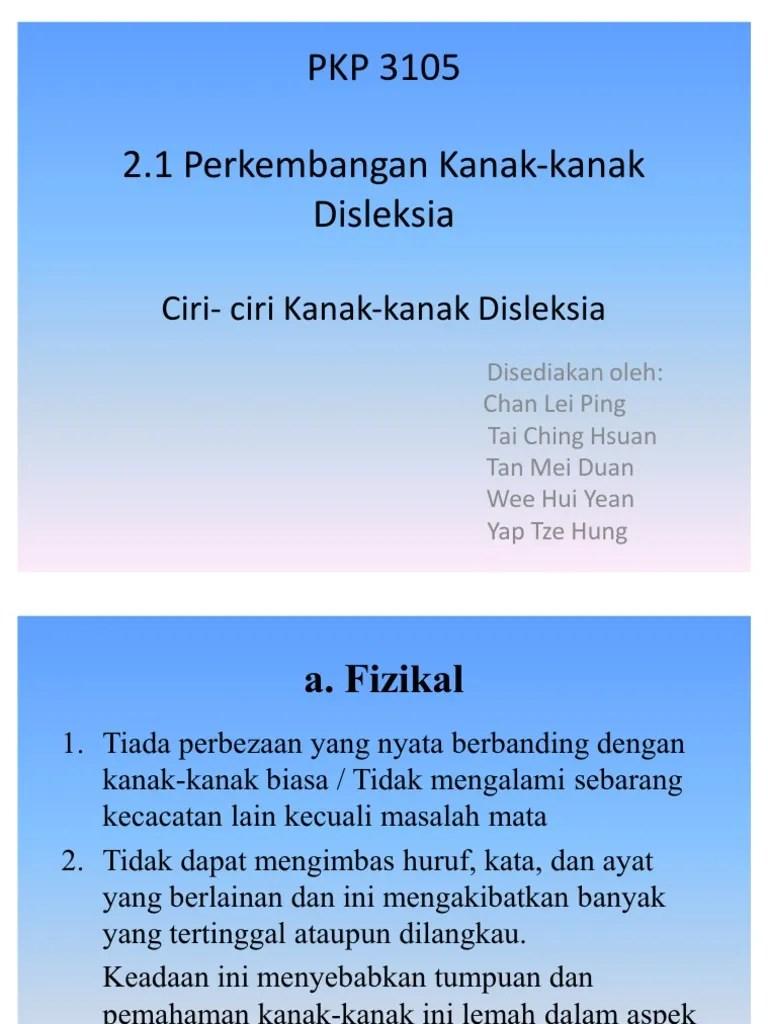 Ciri-ciri Disleksia : ciri-ciri, disleksia, Ciri2, Kanak-Kanak, Disleksia