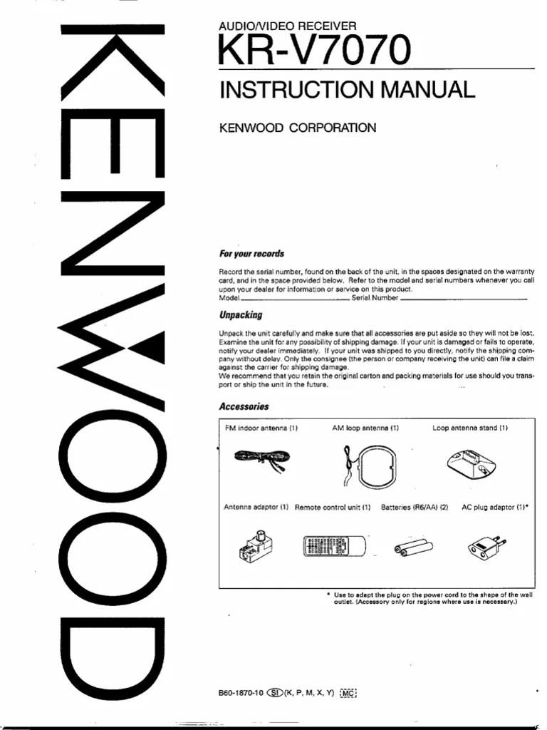Kenwood KR-V7070 Manual