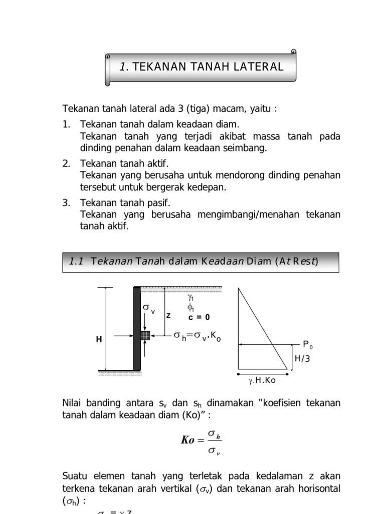 Tekanan Tanah Aktif : tekanan, tanah, aktif, Tekanan, Tanah, Lateral