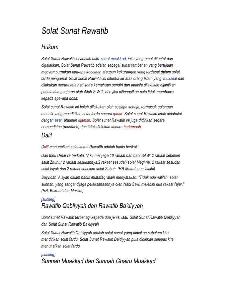 Rawatib Muakkad Adalah : rawatib, muakkad, adalah, Solat, Sunat, Rawatib