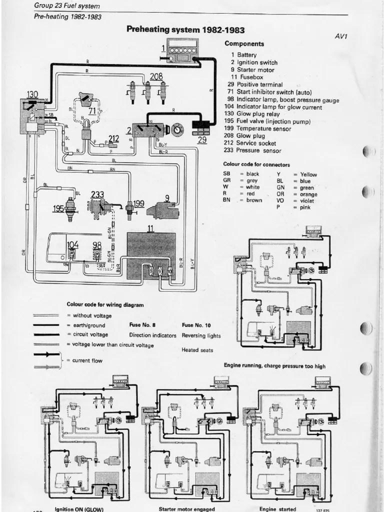 medium resolution of volvo d24 preheating rh scribd com 1992 volvo 940 radio wiring 1992 volvo 240 ac wiring