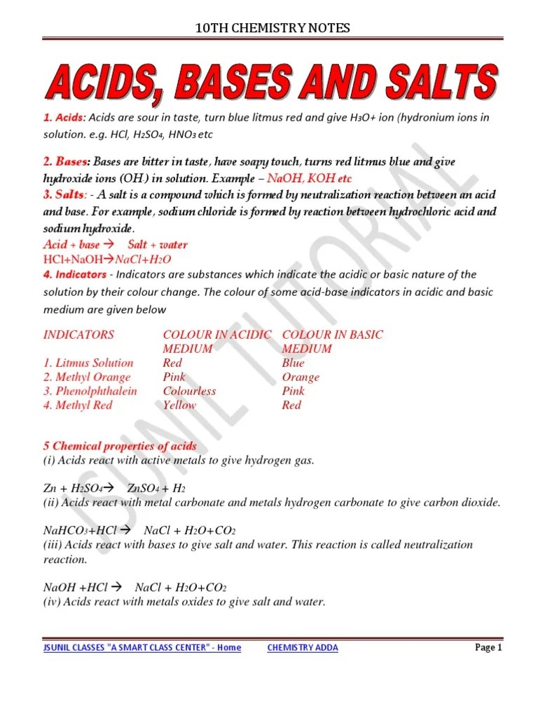10th Acid Base and Salt Notes 2011   Sodium Carbonate   Ph [ 1024 x 768 Pixel ]