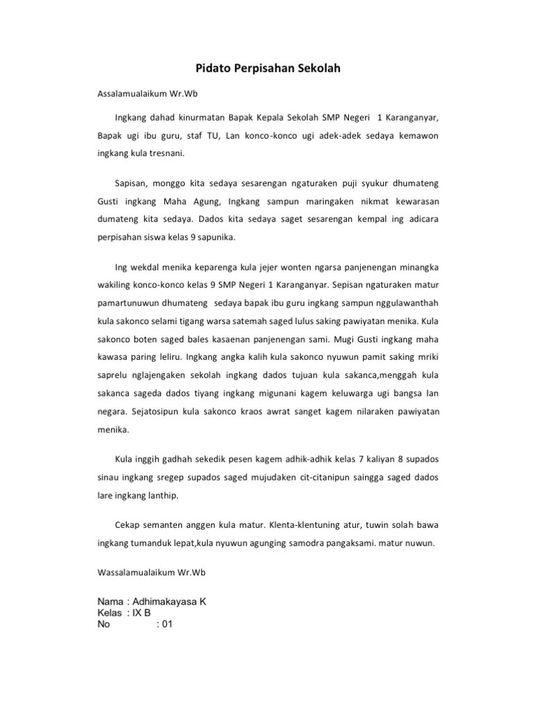 Pidato Bahasa Jawa Krama : pidato, bahasa, krama, Contoh, Pidato, Perpisahan, Kelas, Bahasa, Dokter, Andalan