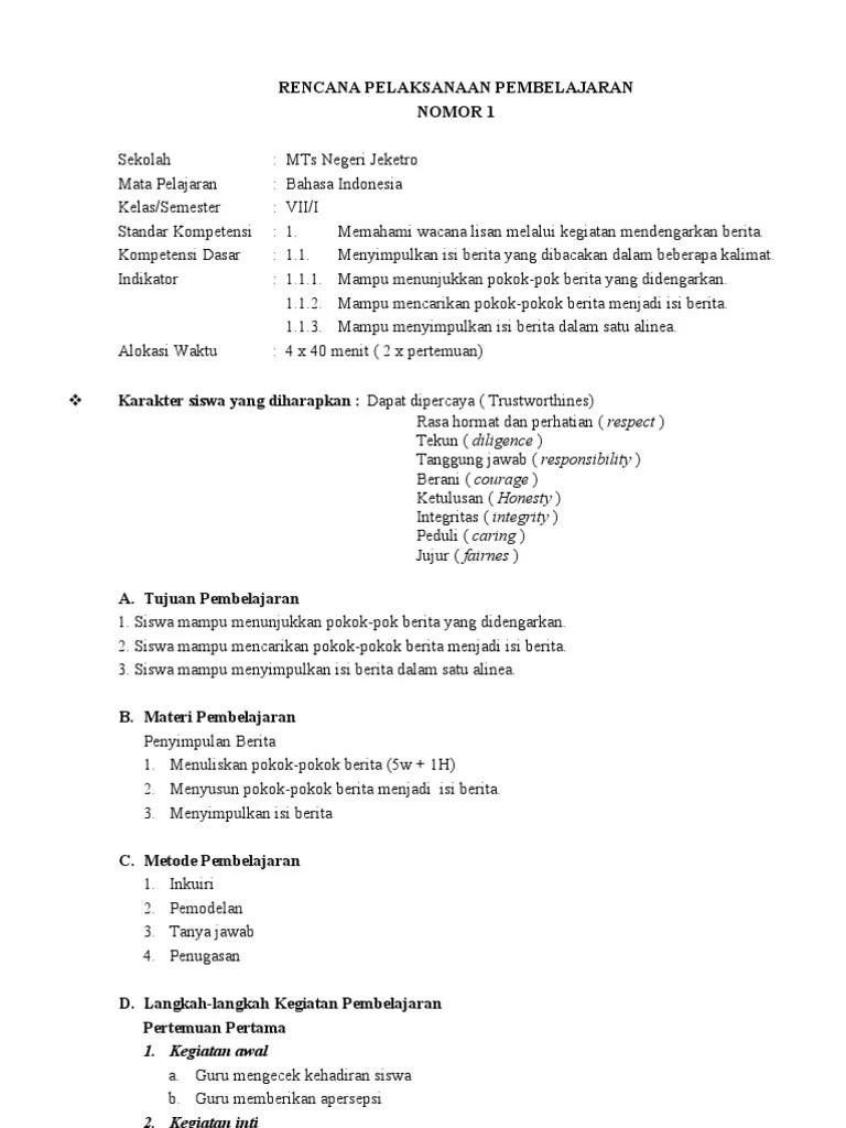 Rpp Bahasa Indonesia Smp Kurikulum 2013 : bahasa, indonesia, kurikulum, Bahasa, Indonesia, Kelas, Semester