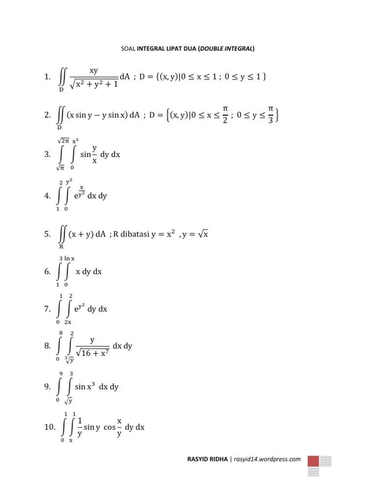 Contoh Soal Integral Lipat Dua : contoh, integral, lipat, Contoh, Integral, Lipat, Soal-Soal