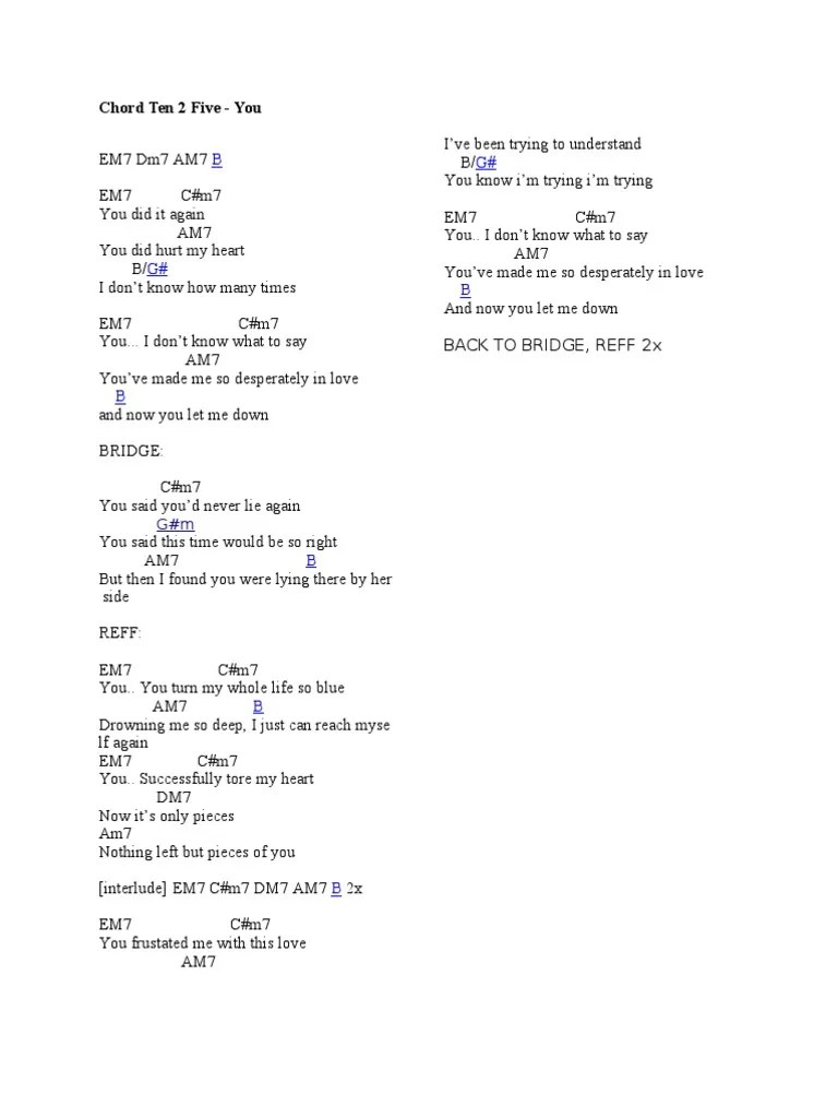 Ten 2 Five You Chord : chord, Chord, Dance, Songs