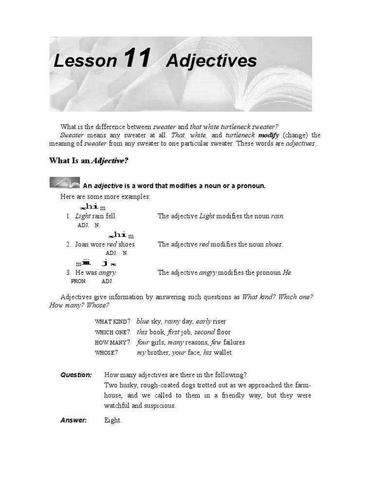 adjectives adjective predicate grammar