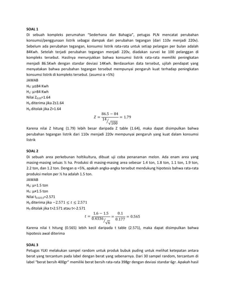 Contoh Soal Uji Hipotesis : contoh, hipotesis, Pengujian, Hipotesis, Jawaban