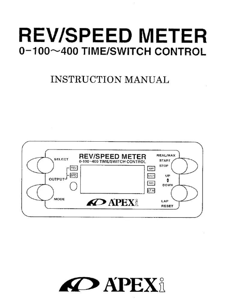 apexi rsm wiring diagram 1965 mustang rev speed meter manual