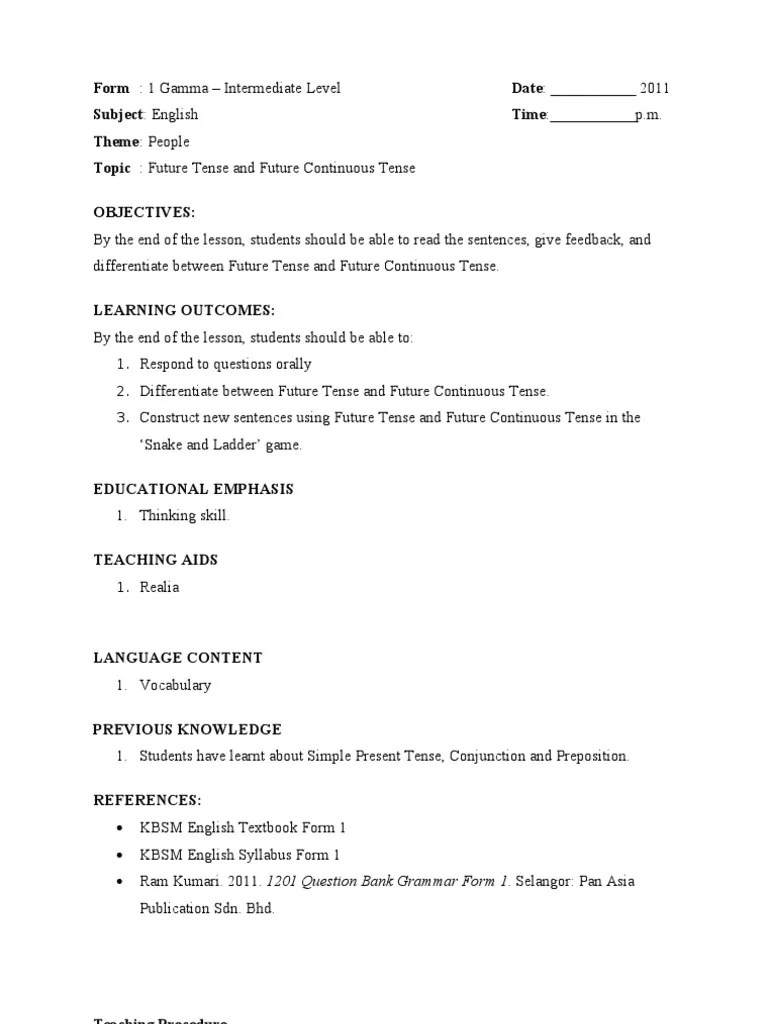 Lesson Plan - Future Tense   English Language   Teaching [ 1024 x 768 Pixel ]
