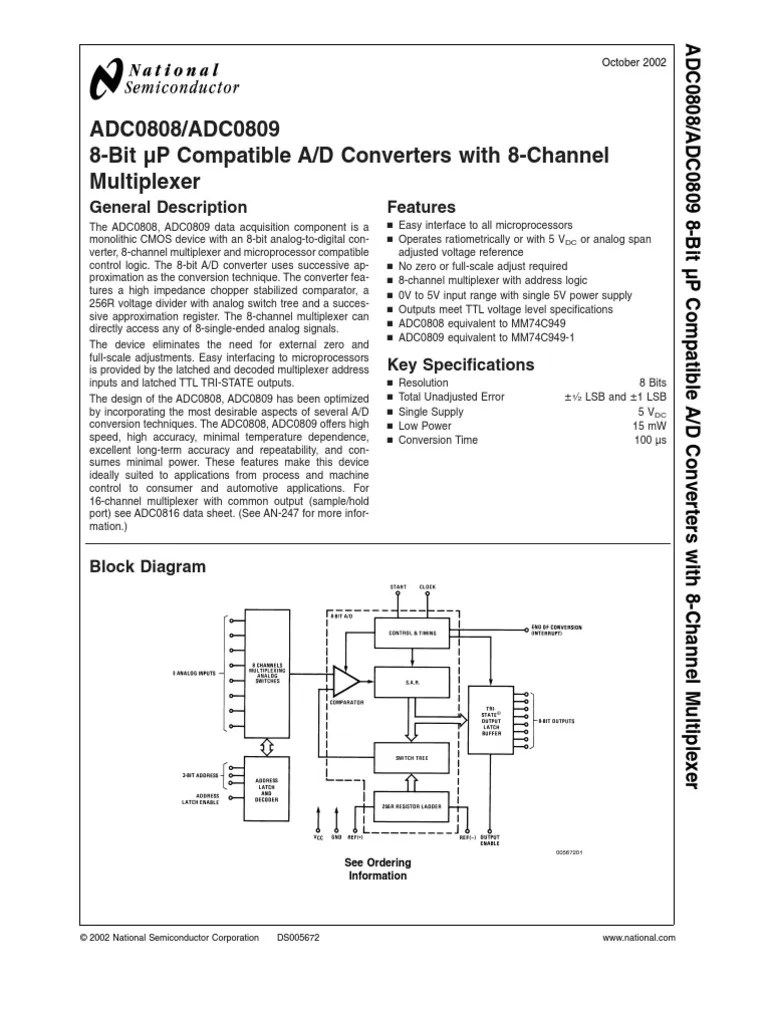adc0809ccn analog to digital converter capacitor [ 768 x 1024 Pixel ]