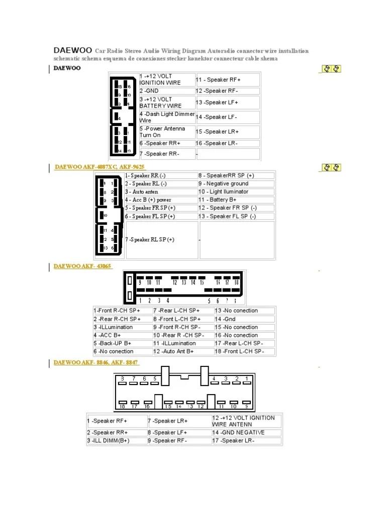 medium resolution of daewoo car radio stereo audio wiring diagram broadcasting daewoo cielo radio wiring diagram daewoo wiring diagram radio source 2001 daewoo lanos