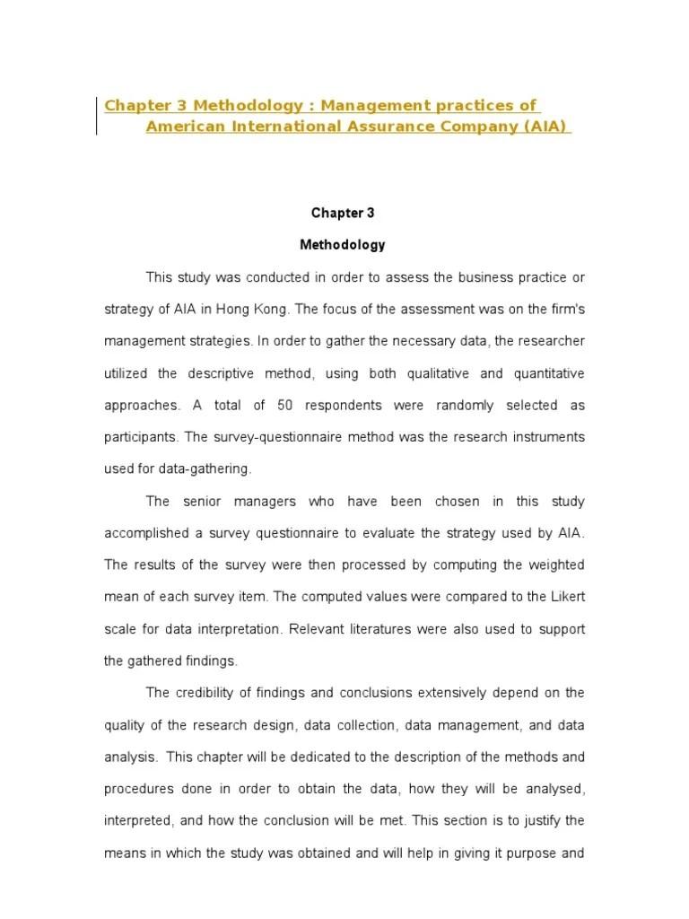 Chapter 3 Methodology Quantitative Research Survey