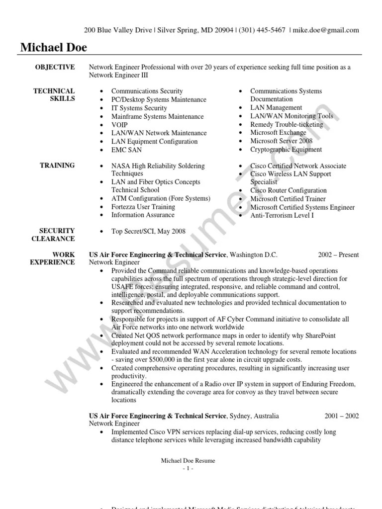 Resume For Network Engineer Network Engineer Resume Sample Local Area Network Computer Network
