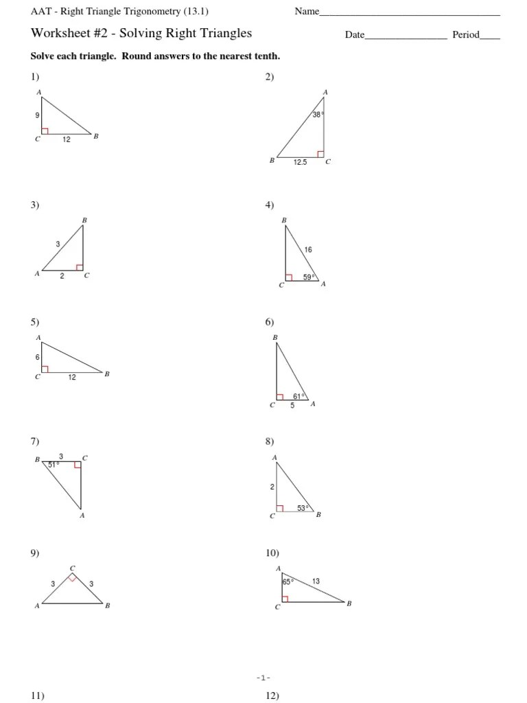 Section 13 1 Right Triangle Trigonometry Solving Right Triangles Worksheet  2   Space   Geometric Shapes [ 1024 x 768 Pixel ]
