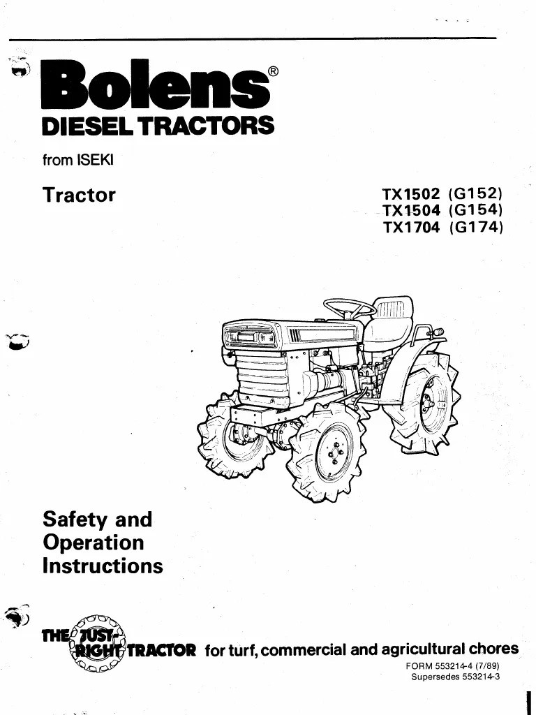 Iseki Bolens TX2140 2160 Owners Manual