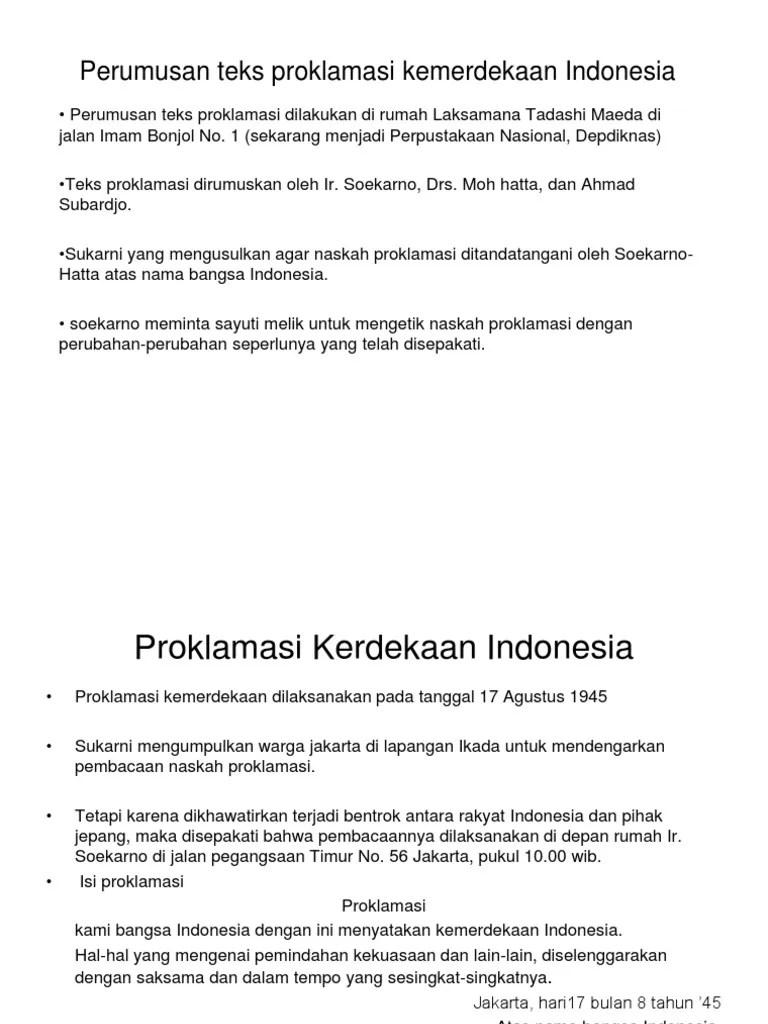 Download Teks Proklamasi : download, proklamasi, Perumusan, Proklamasi, Kemerdekaan, Indonesia