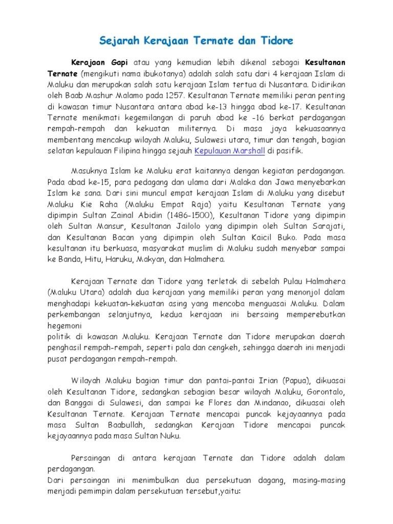 Kehidupan Politik Kerajaan Tidore : kehidupan, politik, kerajaan, tidore, Sejarah, Kerajaan, Ternate, Tidore