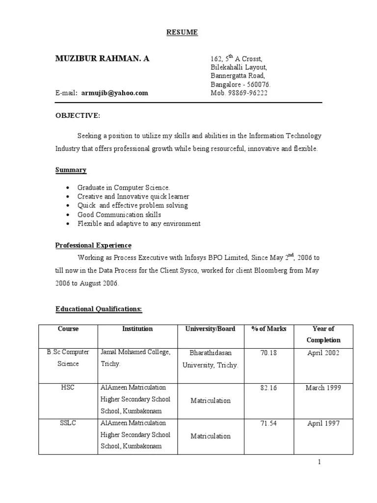 hr resume in word